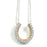 Two-Tone Sterling Silver Rhodium and Gold Plated with CZ Horseshoe Necklace