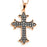 Two-Tone Sterling Silver Black Rhodium and Rose Gold Plated with CZ Cross Necklace