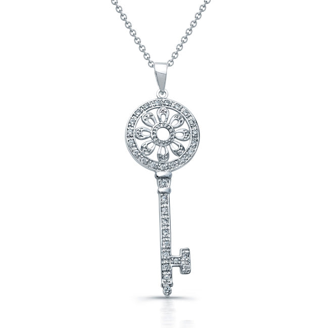 Sterling Silver Rhodium Plated and CZ Flower Key Necklace