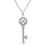 Sterling Silver Rhodium Plated and CZ Key Necklace