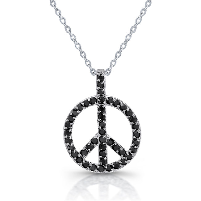 Sterling Silver Rhodium Plated and CZ Peace Necklace