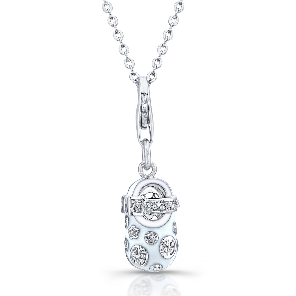 Sterling Silver Rhodium Plated with White Enameled and CZ  Shoe Necklace