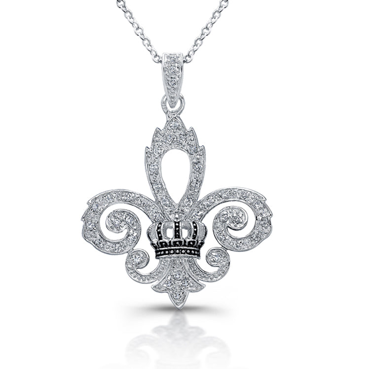Sterling Silver Rhodium Plated and Enameled Fleur De Lis Necklace
