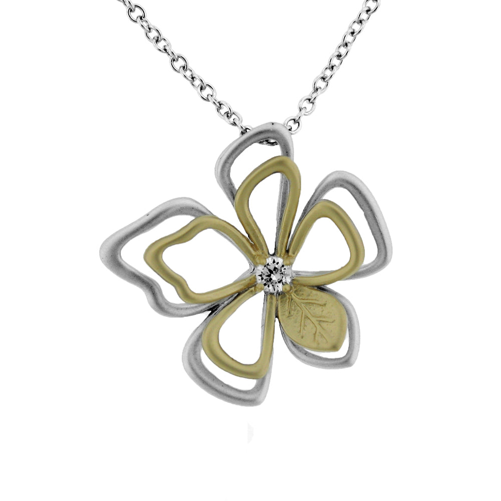 Sterling Silver Rhodium & Gold Plated and CZ Flower Necklace