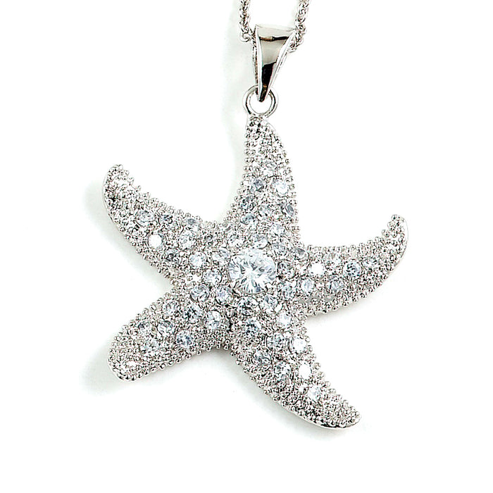 Sterling Silver Rhodium Plated and CZ Starfish Necklace