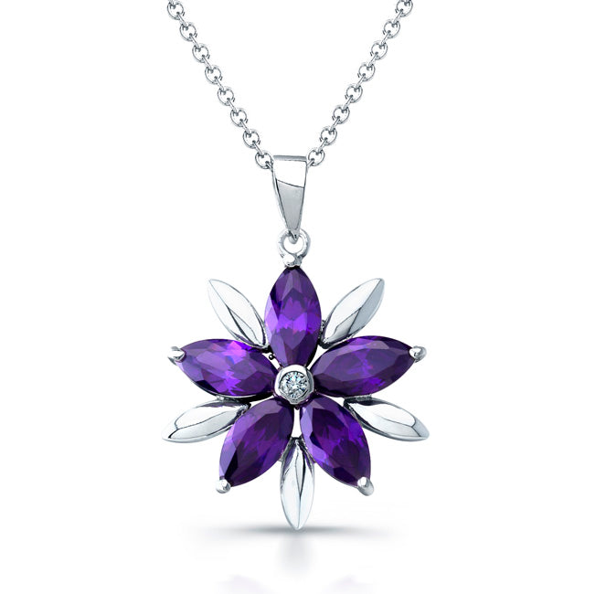 Sterling Silver Rhodium Plated and CZ Flower Necklace