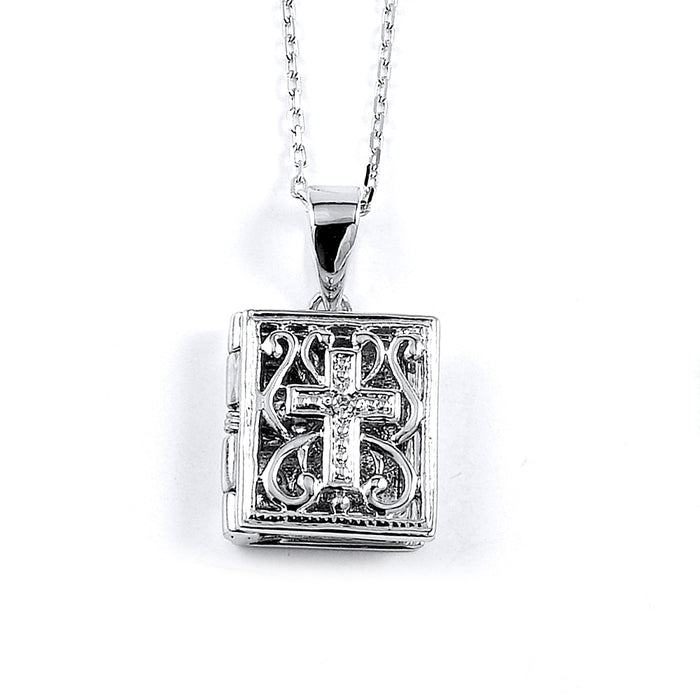 Sterling Silver Rhodium Plated and CZ Bible Necklace