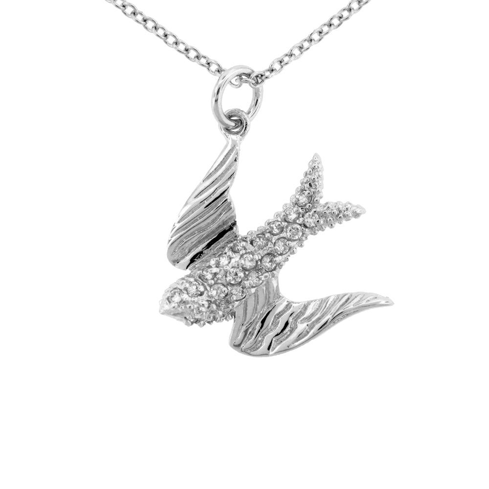 Sterling Silver Rhodium Plated and CZ Bird Necklace