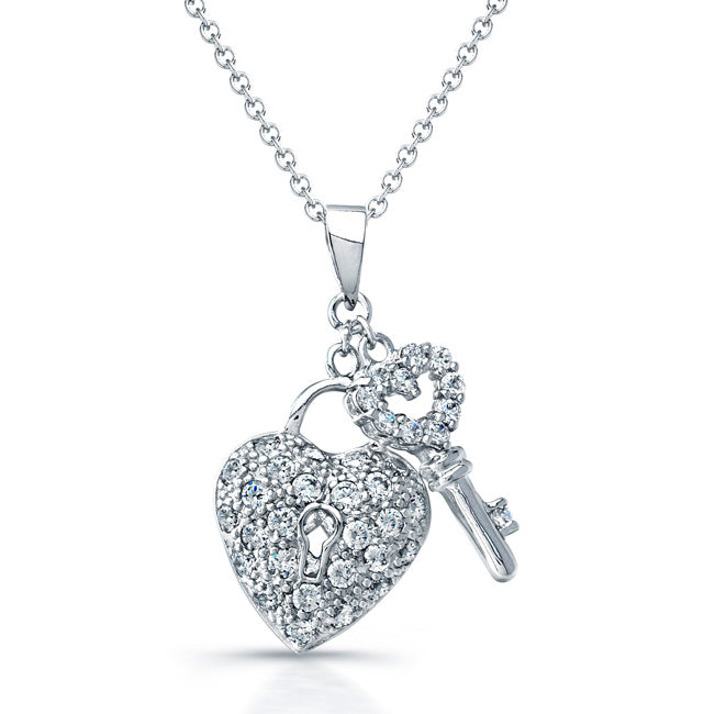 Sterling Silver Rhodium Plated and CZ Heart & Key Necklace