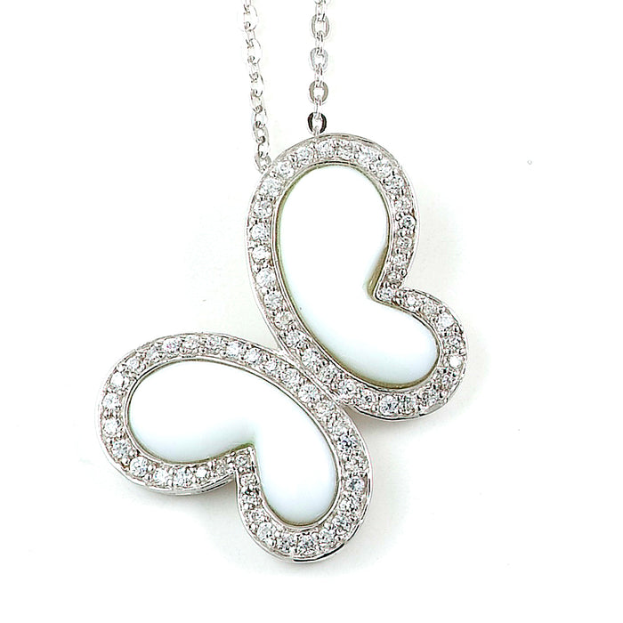Sterling Silver Rhodium Plated and CZ Butterfly Necklace