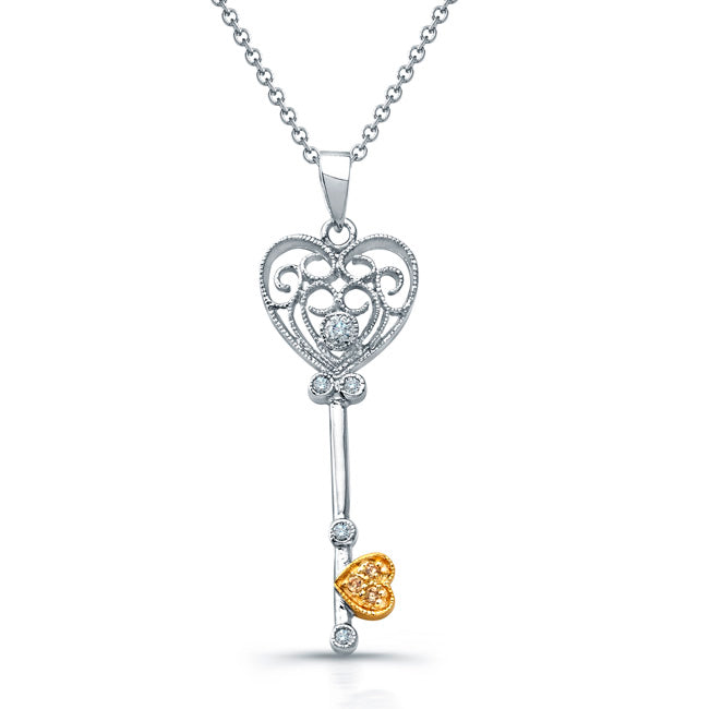Sterling Silver Rhodium Plated and CZ Key & Heart CZ Necklace