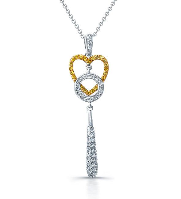 Sterling Silver Rhodium Plated and CZ Key & Heart Necklace