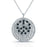 Sterling Silver Rhodium Plated and Black CZ Peace Necklace