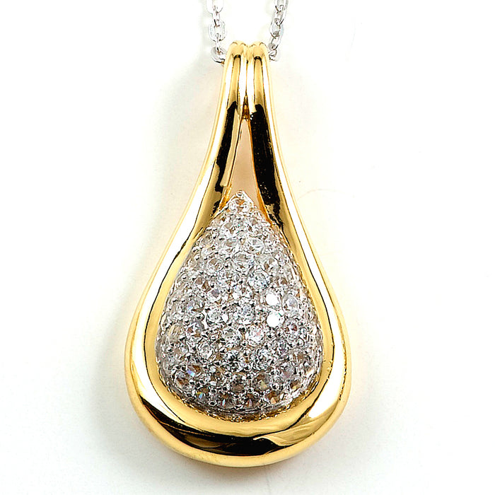 Two-Tone Sterling Silver and CZ Necklace