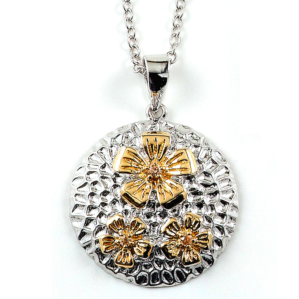 Two-tone Sterling Silver and CZ Flower Necklace