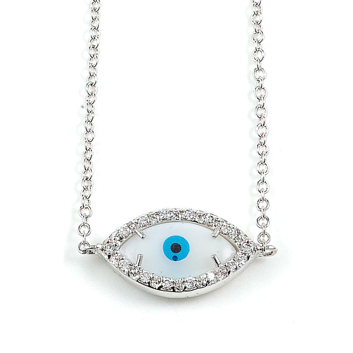 Sterling Silver Rhodium Plated and CZ Evil Eye Necklace