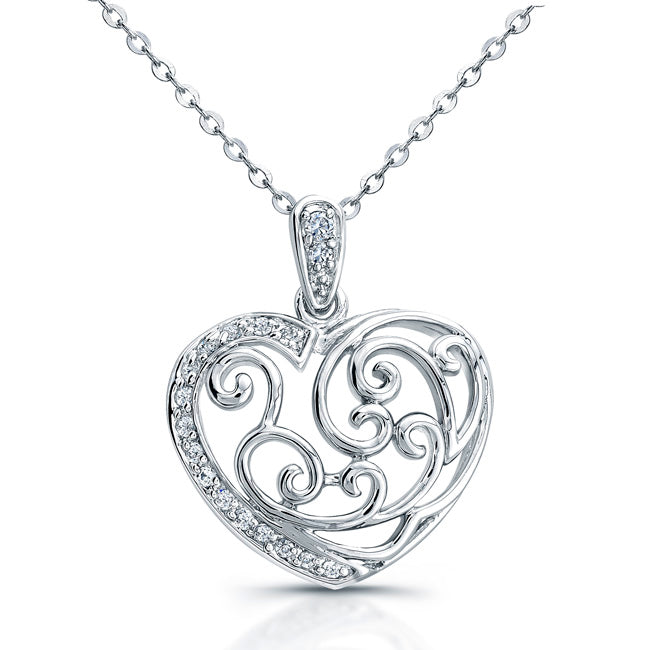 Sterling Silver Rhodium Plated and CZ Heart Necklace
