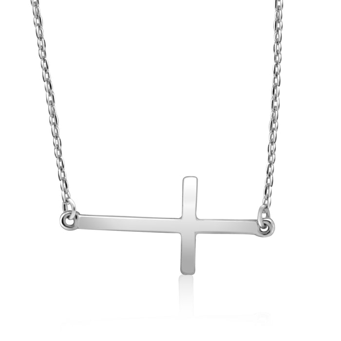 Sterling Silver Rhodium Plated sideway Cross Necklace