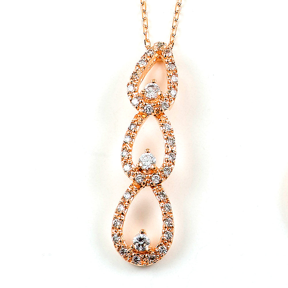 Sterling Silver Rose Gold Plated and CZ Triple Teardrop Necklace