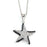 Sterling Silver Rhodium Plated and Black & White CZ Starfish Necklace