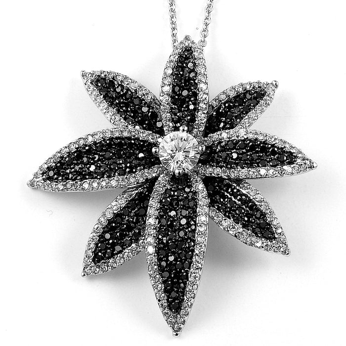 Sterling Silver Rhodium Plated and Black & White CZ Flower Necklace