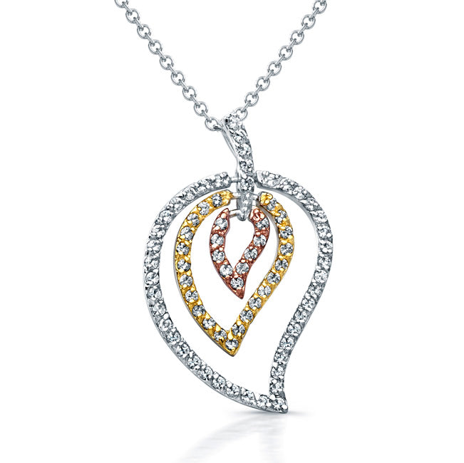 Sterling Silver Rhodium, Rose Gold, and Gold Plated with CZ Leaf Necklace