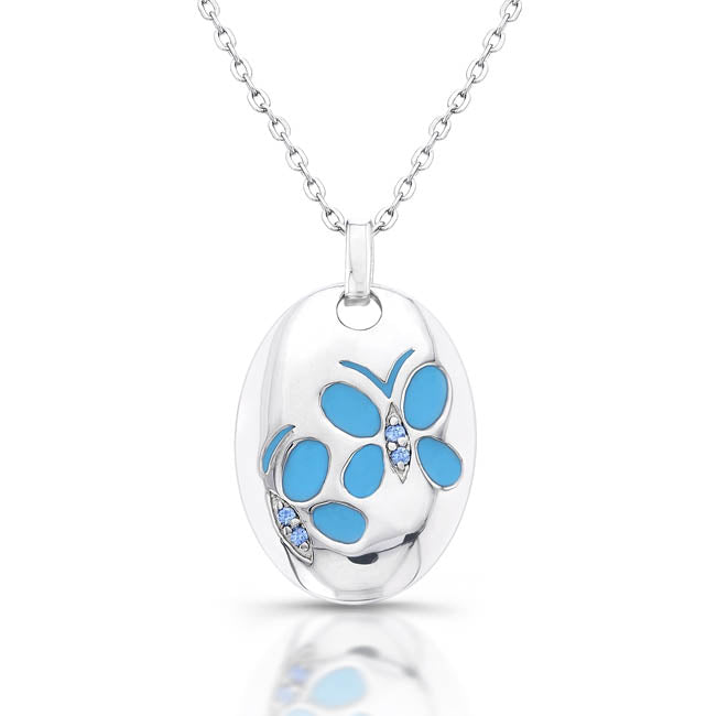 Sterling Silver Rhodium Plated and Turquoise Butterfly Necklace