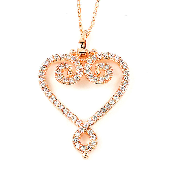 Sterling Silver Rhodium Plated and Pink CZ Necklace