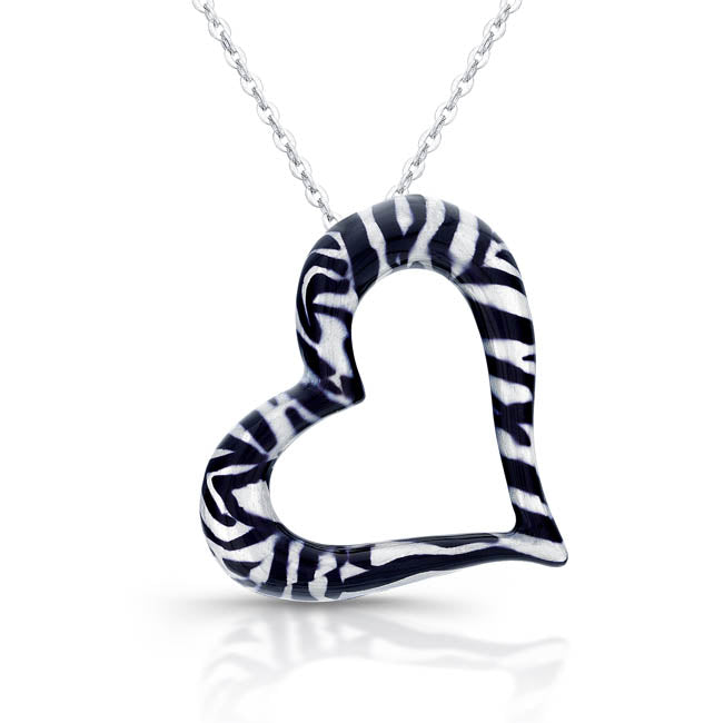 Sterling Silver Rhodium Plated with Enameled Black and White Heart Necklace