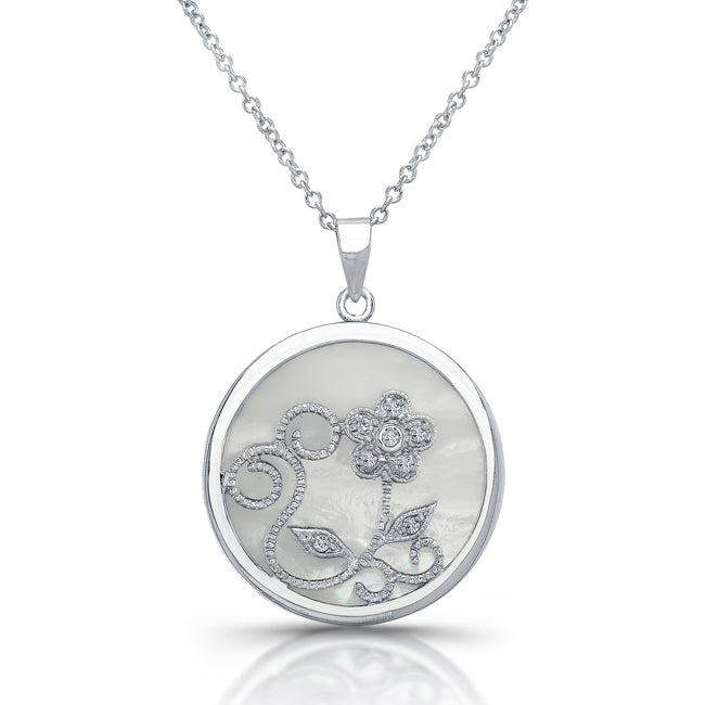 Sterling Silver Rhodium Plated with Mother Of Pearl and CZ Necklace