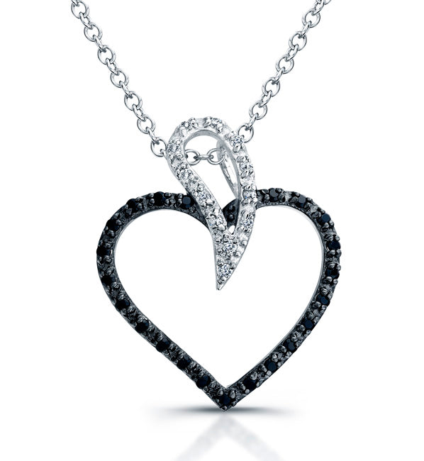 Sterling Silver Rhodium Plated and Black & White CZ Heart Necklace