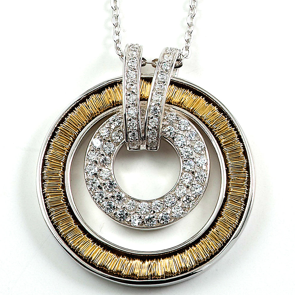 Two-tone Sterling Silver Rhodium Plated Necklace