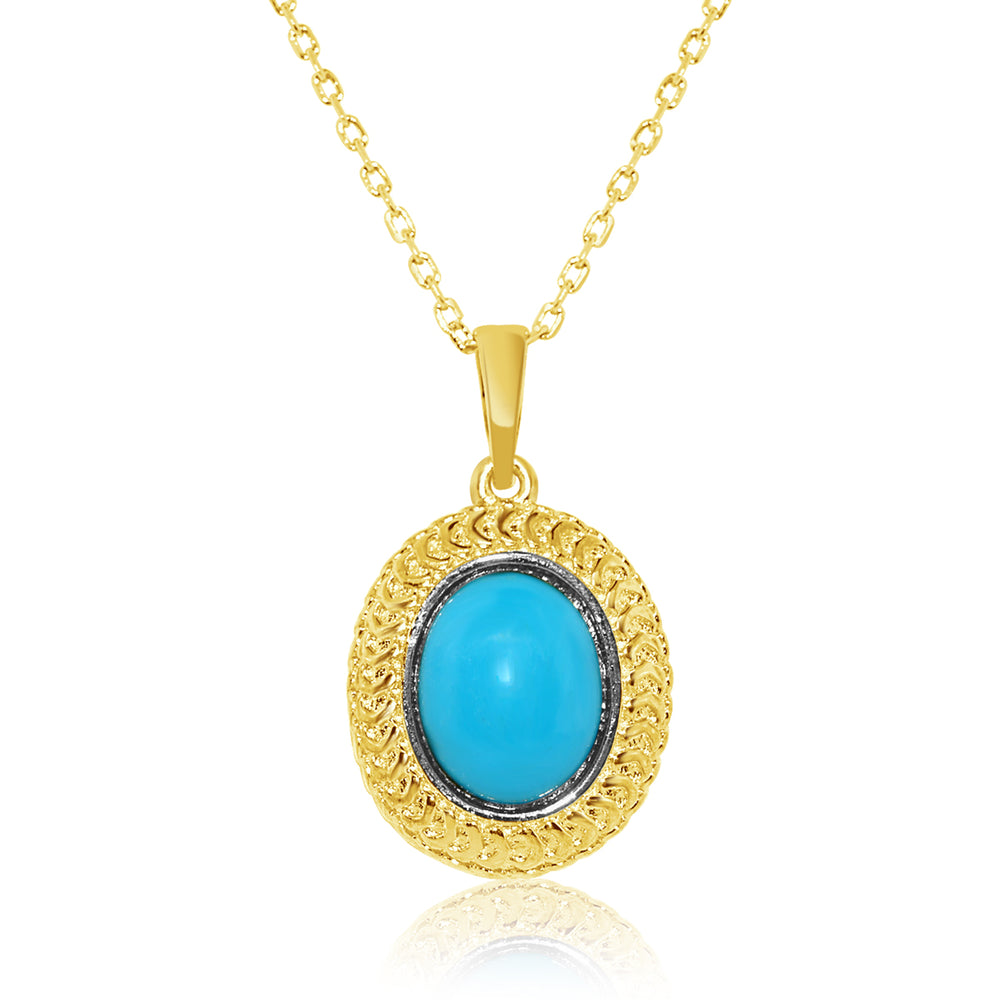 Sterling Silver Gold Plated and Simulated Turquoise Necklace