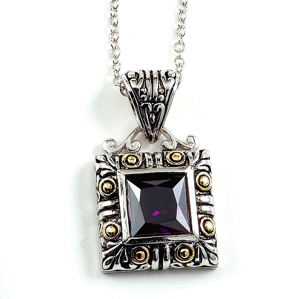 Sterling Silver Rhodium Plated with Simulated Amethyst Necklace