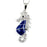 Sterling Silver Rhodium Plated and Blue Enameled Sea Horse Necklace