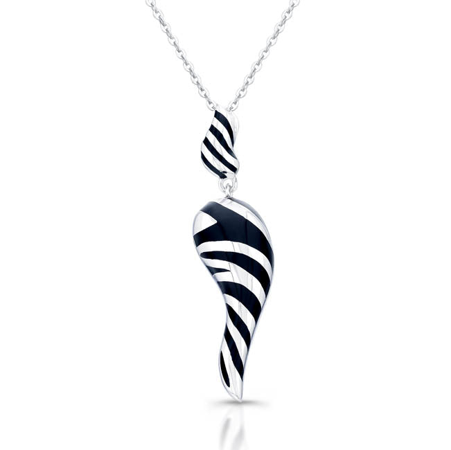 Sterling Silver Rhodium Plated with Black Enameled and White Swirl Horn Necklace