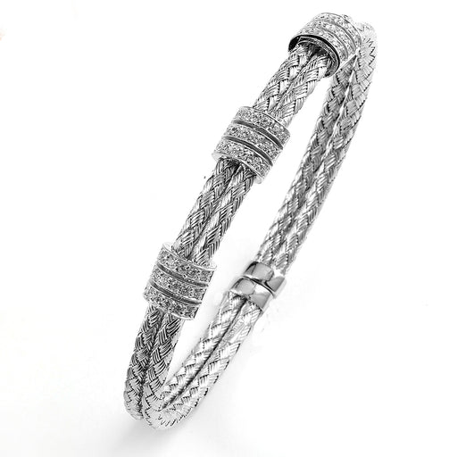 Sterling Silver Rhodium Plated and 3 stations of CZ braided cable Bangle