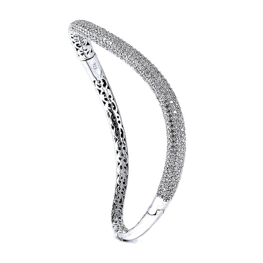 Sterling Silver Rhodium Plated and CZ micro-pave Curvy Bangle with safety clasp