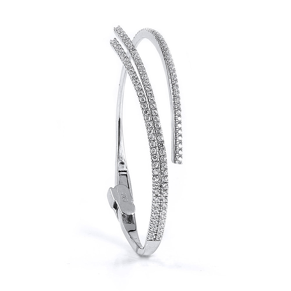 Sterling Silver Rhodium Plated and CZ Swirl Bangle