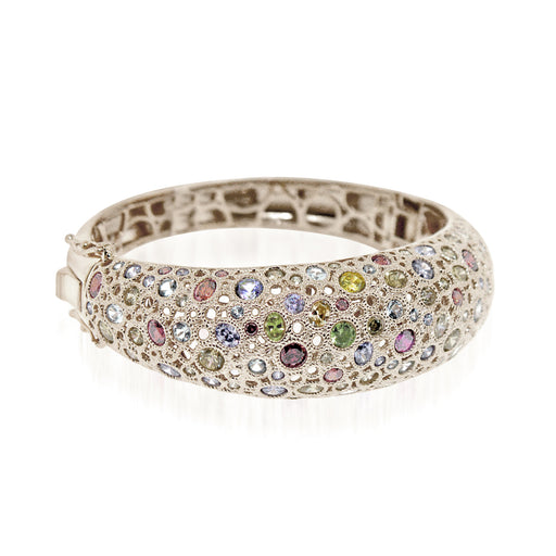 Sterling Silver Rhodium Plated and multi-color CZ Bangle