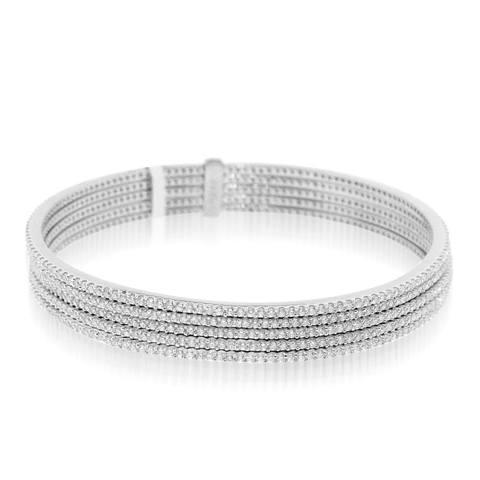 Sterling Silver Rhodium Plated and 5 rows of CZ Bangle