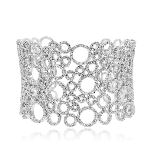 Sterling Silver Rhodium Plated and micro-pave CZ filigree Cuff