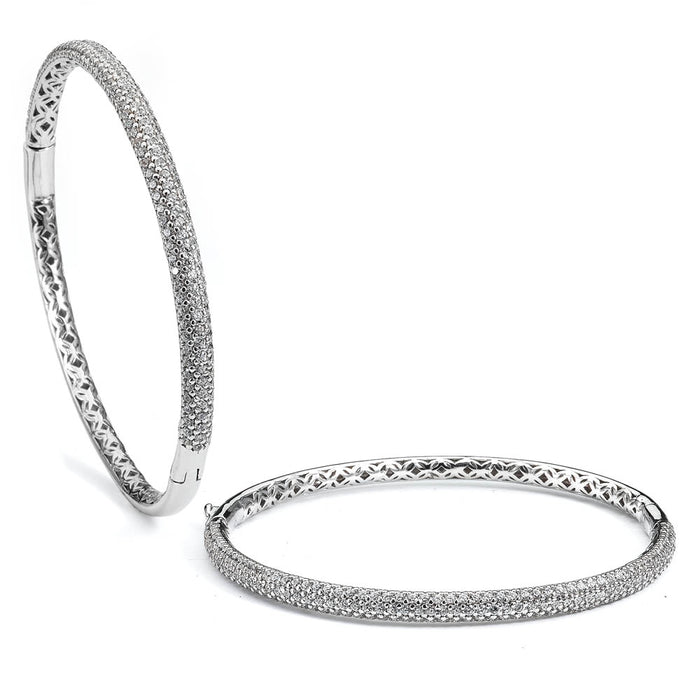 Sterling Silver Rhodium Plated and micro-pave CZ Bangle with safety clasp