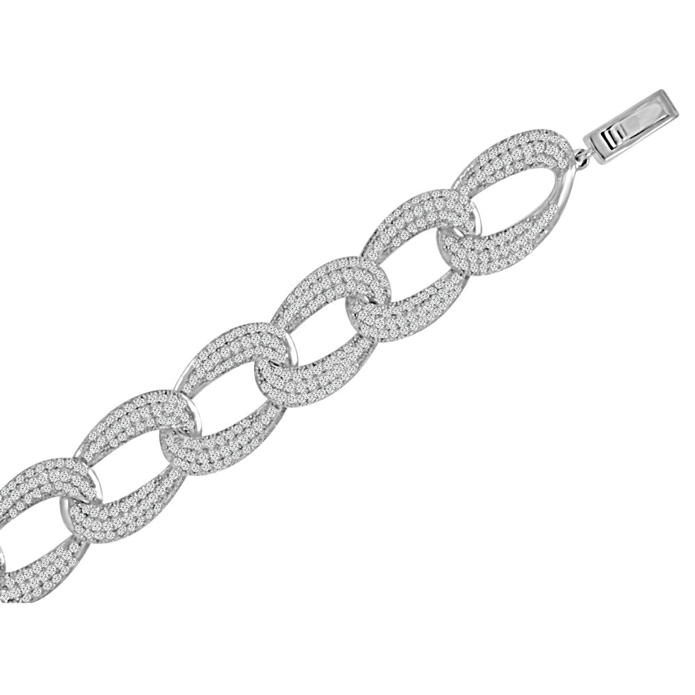 Sterling Silver Rhodium Plated and micro-pave CZ Link Bracelet