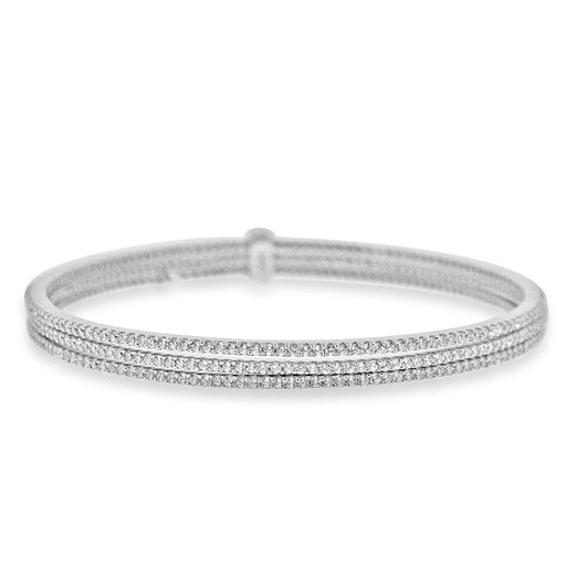 Sterling Silver Rhodium Plated and 3 rows of CZ Bangle