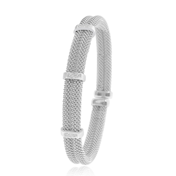 Sterling Silver Rhodium Plated Beaded style Bangle