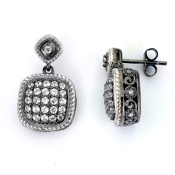 Sterling Silver Rhodium Plated and CZ Cushion Earrings