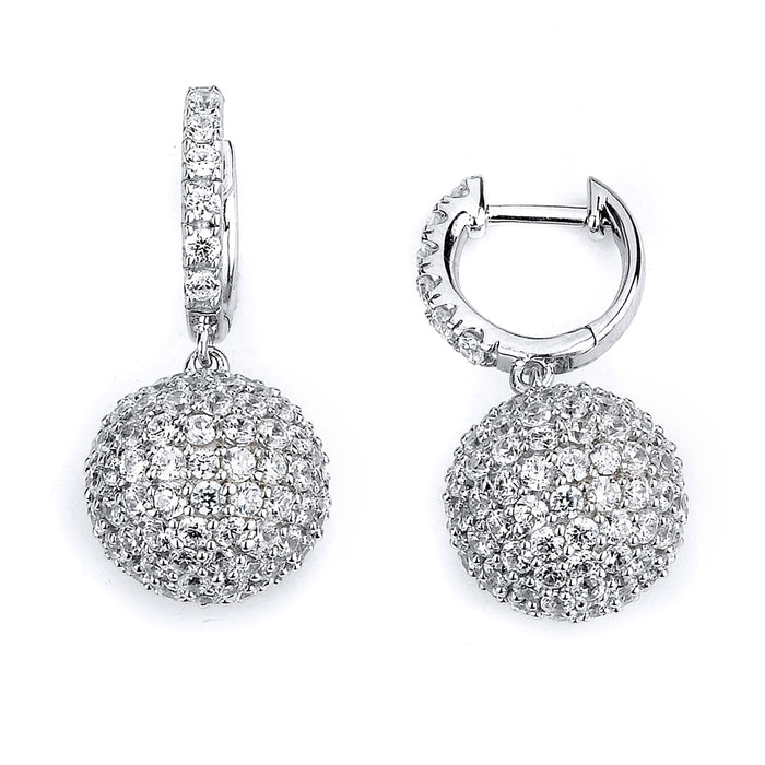 Sterling Silver Rhodium Plated and micro-pave CZ Ball Dangle Earrings