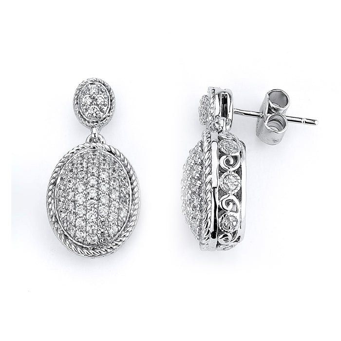 Sterling Silver Rhodium Plating and micro-pave CZ Oval Earrings