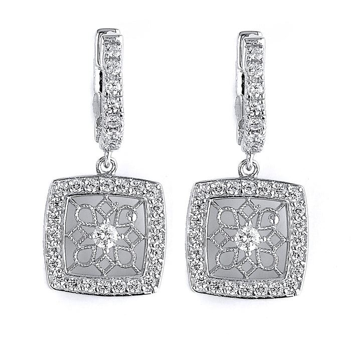 Sterling Silver Rhodium Plated with filigree and CZ Dangle Earrings